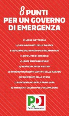 Bersani il governo in 8 punti