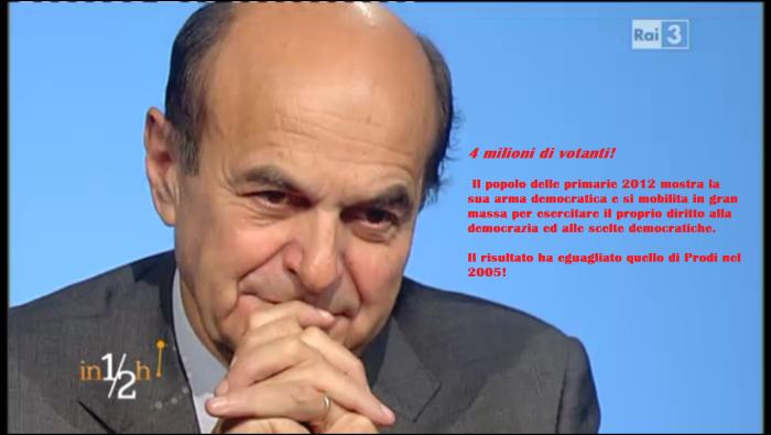 9 novembre 2013 Bersani in mezz'ora 4 milioni votanti