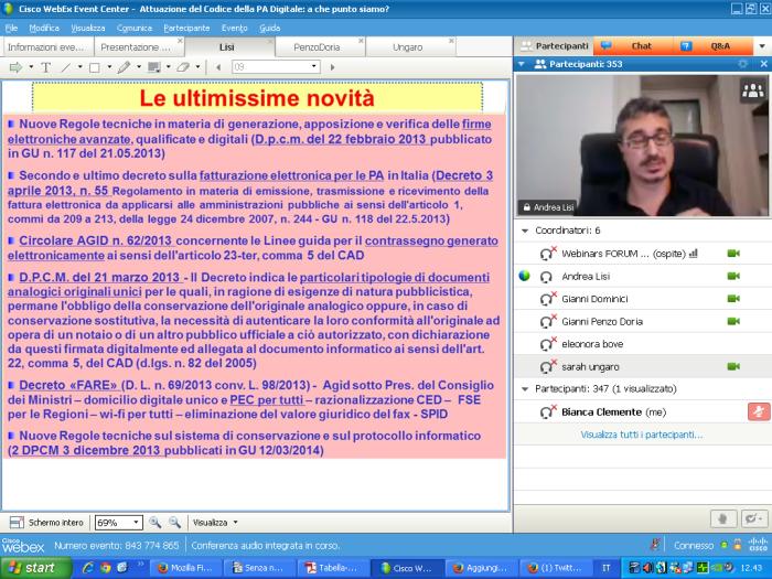 Andrea Lisi al webinar del 25 giugno 2014 su Attuazione del codice PA, a che punto siamo ?